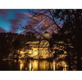 Lienzo fotoimpresión Palacio de Cristal Madrid noche