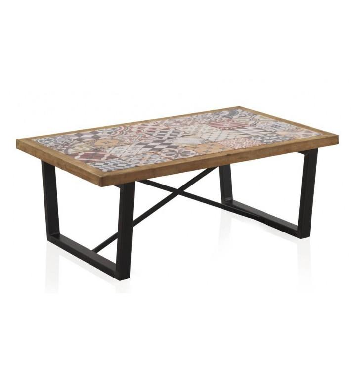 Mesa centro madera cerámica Vejar patas metálicas