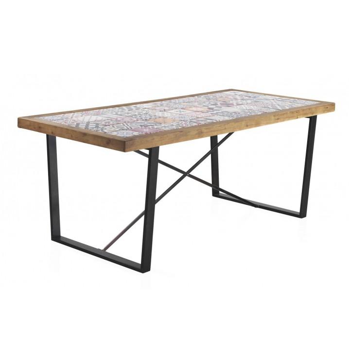 Mesa comedor madera cerámica Vejar patas metálicas