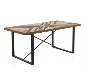 Mesa comedor Hammer madera y metal negro industrial
