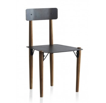 Silla metal Bicol metal negro y madera