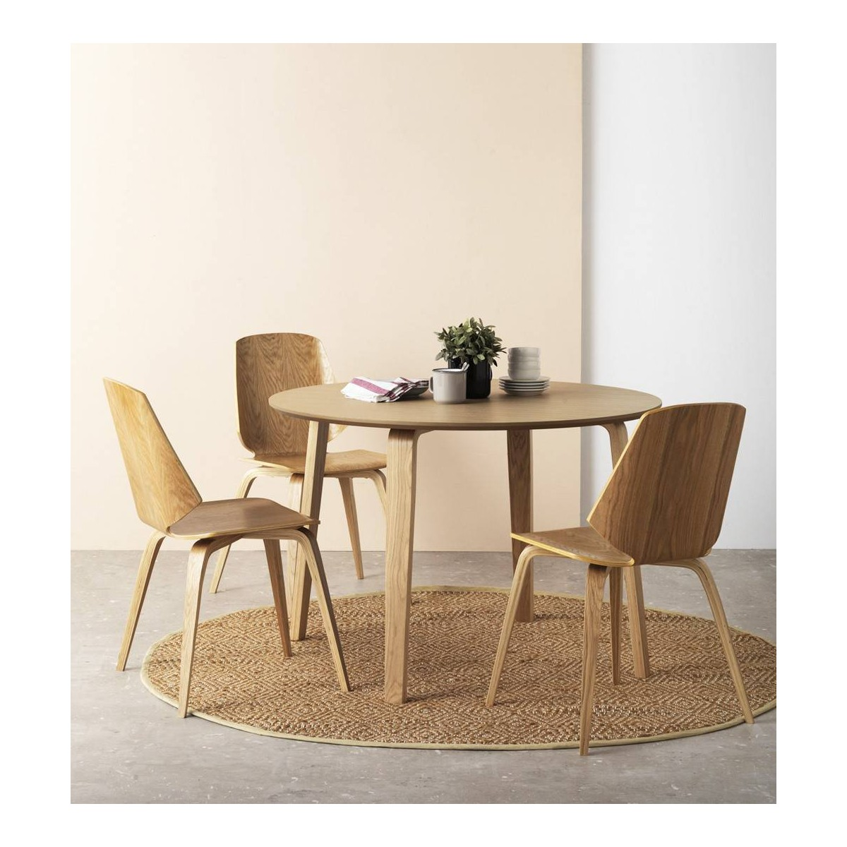 Mesa redonda comedor madera roble finland modelo 3 for Mesa redonda madera