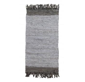 Alfombra algodón flecos gris bicolor pie de cama