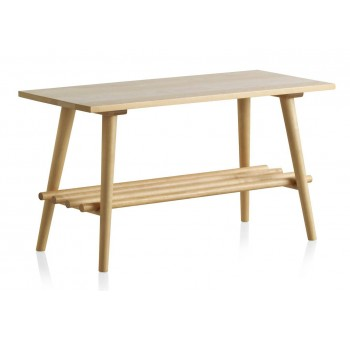 Mesa de centro auxiliar madera abedul natural