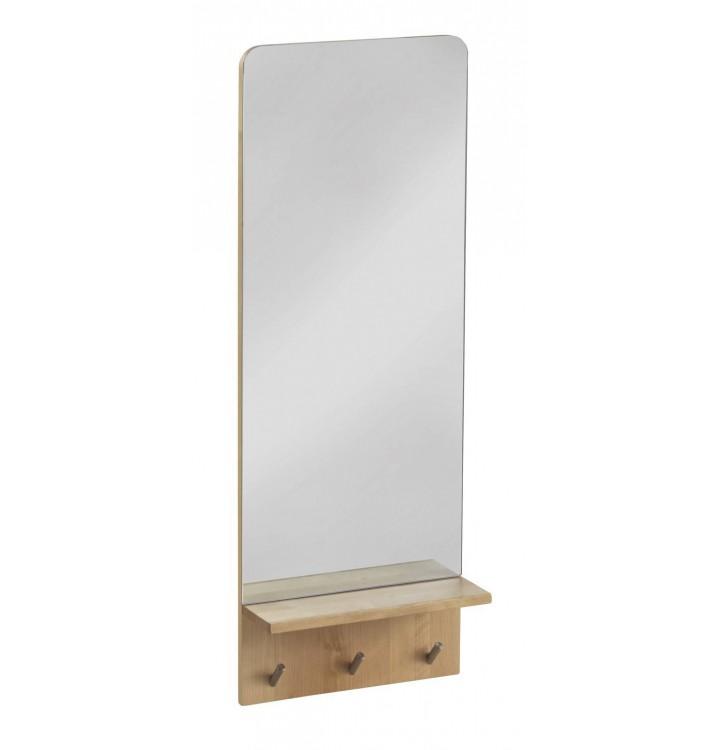 Espejo entrada perchero pared y repisa madera abedul grande