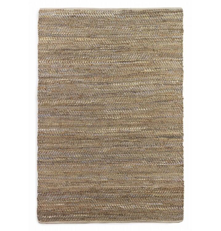 Alfombra 150x200 algodón y yute marrón multicolor