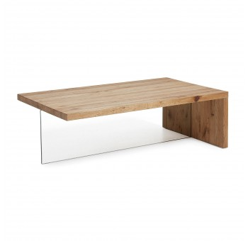 Mesa centro Trisha madera roble natural pata cristal casual nórdico