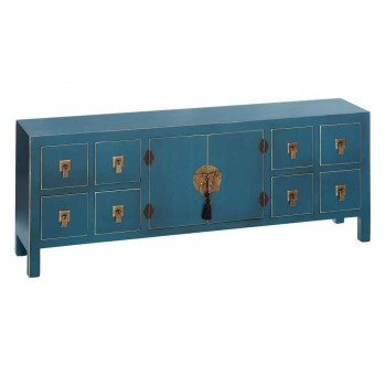 Aparador bajo Japo azul 2 puertas 8 cajones madera colores del mundo