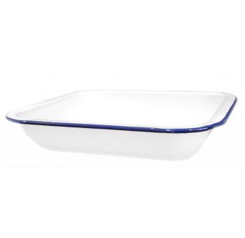 Plato postre metal esmaltado vintage blanco azul